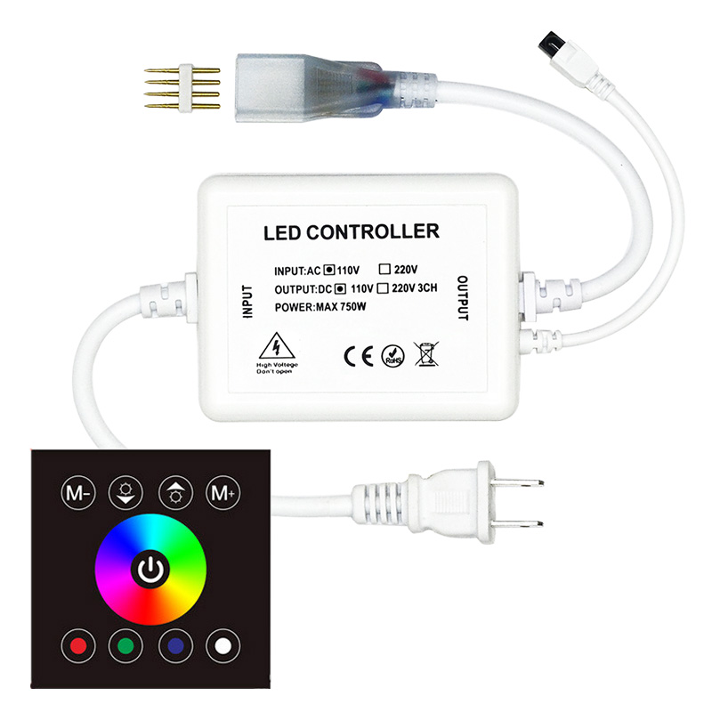 AC110V/220V 750W, 86 Type 8 Keys Glass Touch Color Ring Wireless Remote Control Panel, RGB touch controller