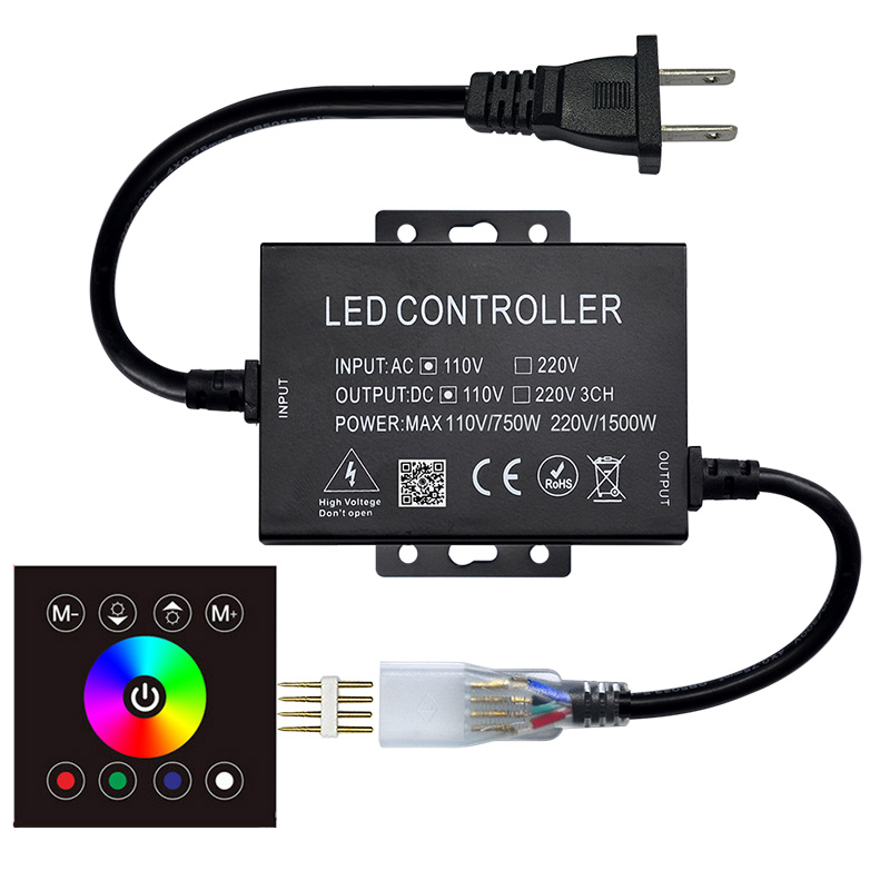 AC110V/230V 1500W,86 Type 8 Keys Glass Touch Color Ring Wireless Remote Control Panel, For 3528RGB LED Strip light