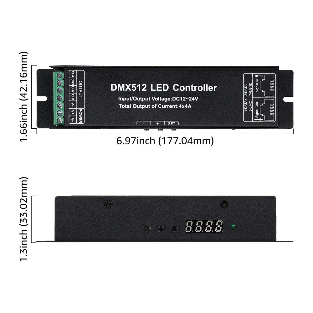 DC12-24V 4 Channel DMX512 Decoder for, led controller