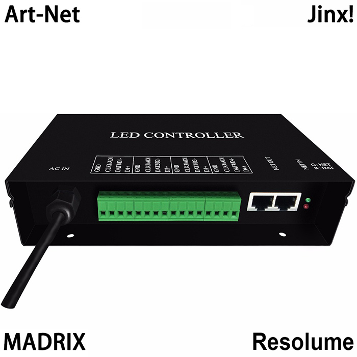 AC220V led artnet controller supports artnet protocol,each universe supports 680 pixels,work with Resolume,MADRIX,Jinx,etc, For digital led pixel panel