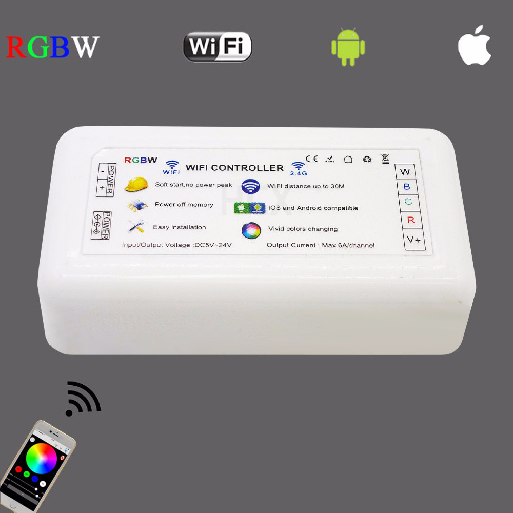 DC5-24V ios android RGBW wifi controller iphone android wifi control ESP8266 built-in 4 route max 6A/channel led RGBW strip controller For RGBW LED strip light