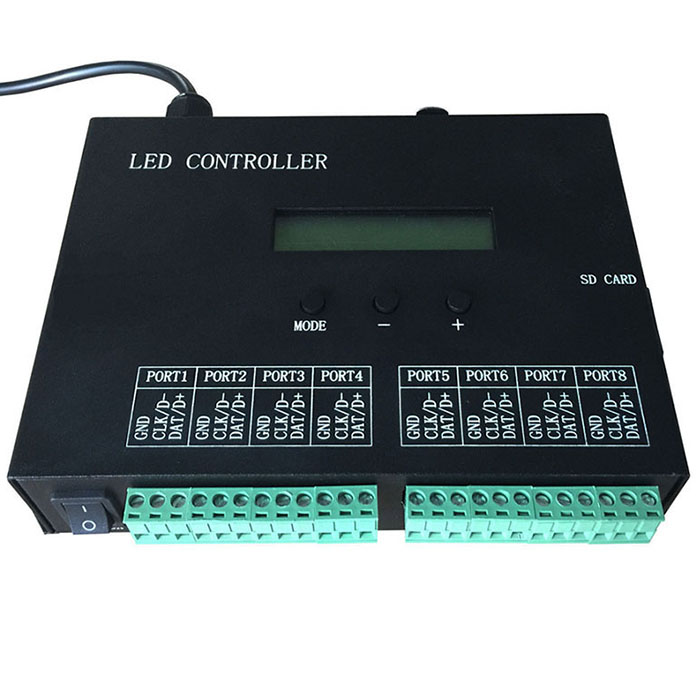 AC 220V LED controller,full color programmable,DMX512 controller,8 ports drive 8192 pixels,can connect DMX console,support many chips. For LED Strip light