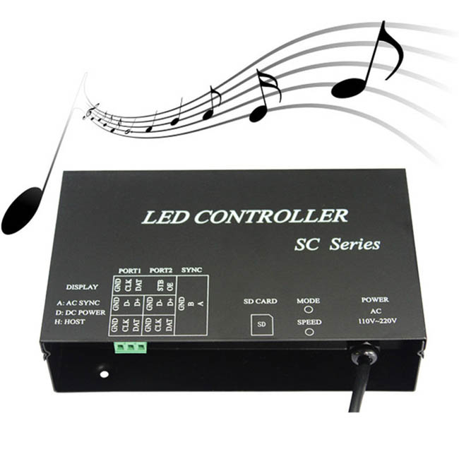 AC220V LED music controller,full color programmable,play effects with music,support DMX512,WS2812,etc.microphone&audio cable input,For Led strip light