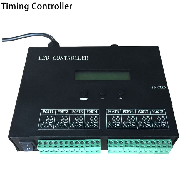 RGB led timetable controller,play effects by schedule,control max 8192 pixels,support WS2812 WS2811,For programmable led strip