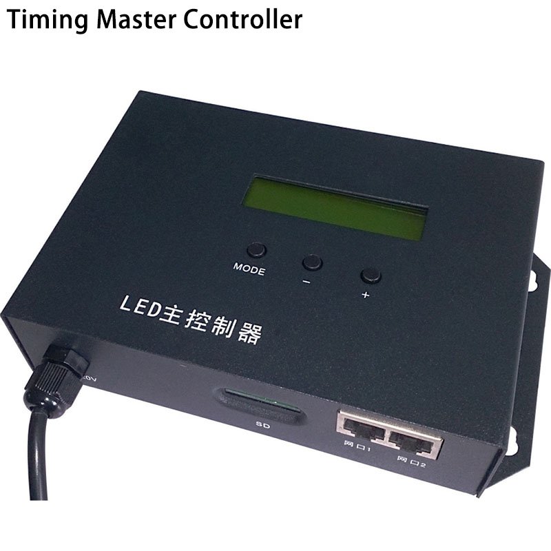 AC220V LED RGB Controler full color timing master controller play effects by schedule,support WS2811,UCS6909,etc.2 ports drive max 122880 pixels, For digital led pixel panel