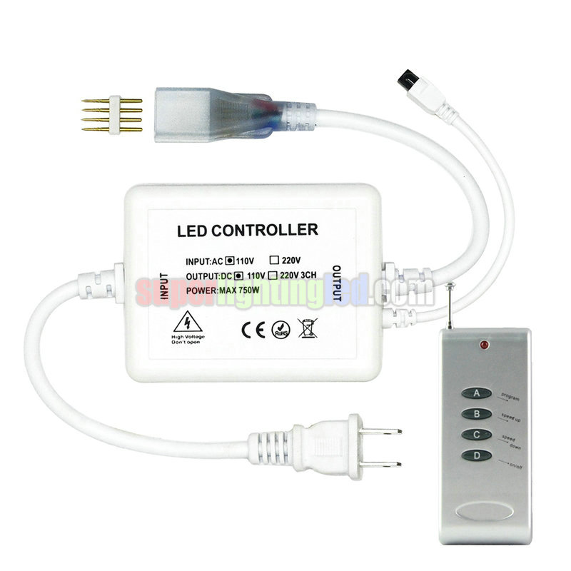 RF4 remote control controller, AC110V/220V, Output 1500W For high-voltage RGB lamp with light bar