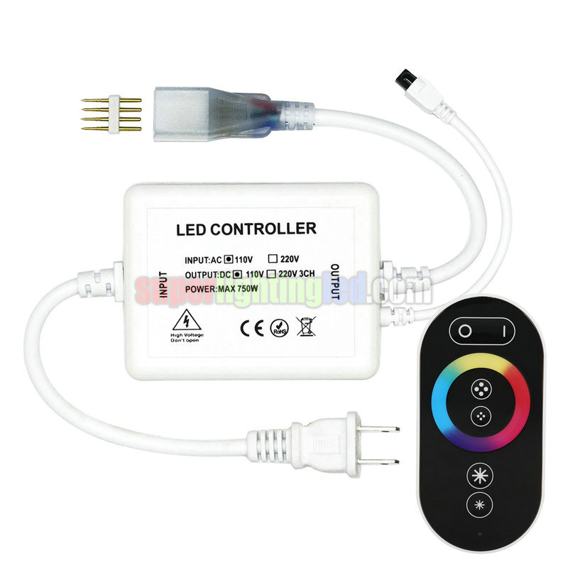 Touch remote control high voltage controller, RF dimmer, suitable for high voltage LEDRGB strip lights