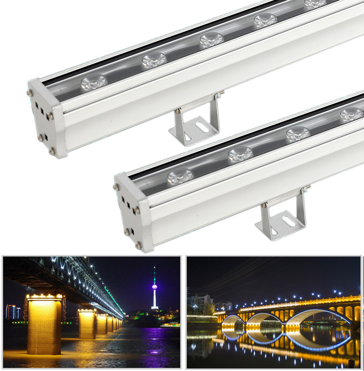 DC24V 18W , 24W ,36W , 75W Waterproof IP65 Bridge ,Apartment ,Hight way Use Universal Engineering Programmable Addressable Led Full Color Led Wall Washer Light