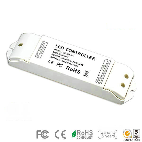 LT-704-5A DC12V~DC24V 5A 4CH easy install dimming driver applied for conference center lighting ,led strip lights