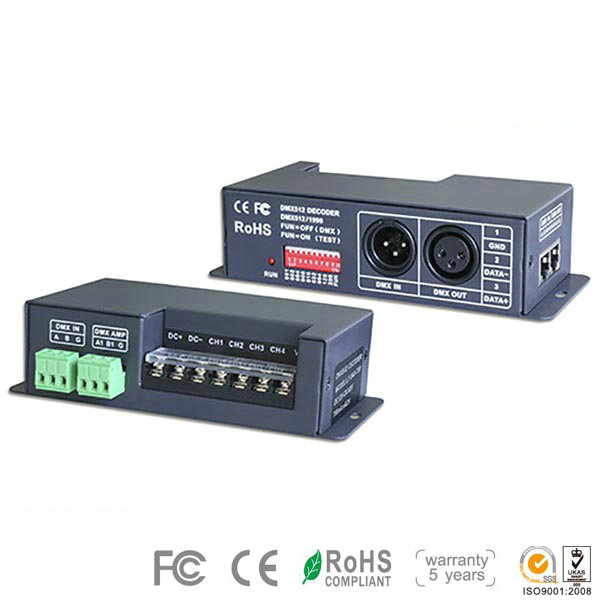 LT-840-350, 4CH CC DMX-PWM Decoder, Green Terminal Interface for 12 Volt Led Lights, 5 Warranty