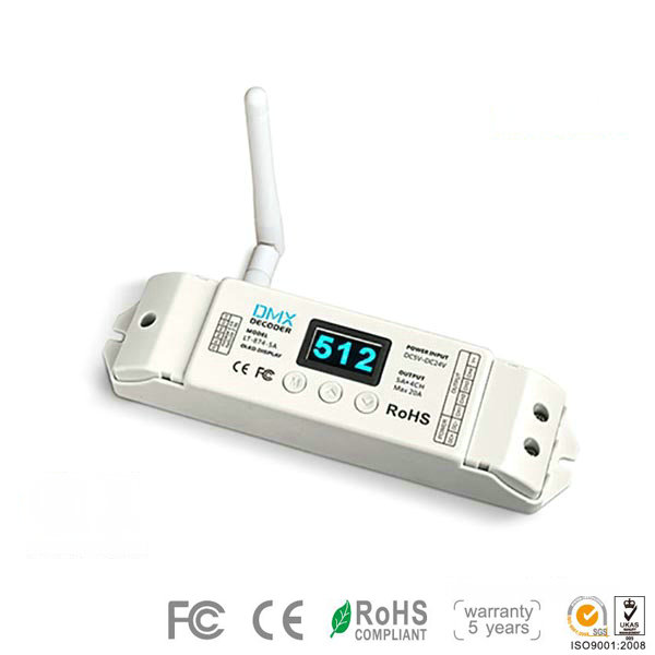 LT-874-5A, 4CH Wireless CV DMX Decoder, High-end DMX Decoder for Led Light Bulbs and Building LED Strips, 5 Warranty