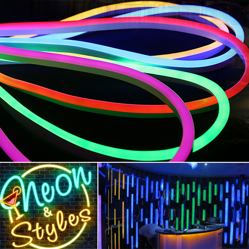 12V/24V/110V/220V High-Grade Single Color RGB Color Changing Led Neon Flexible Tube Strip For Edge lighting Track lighting