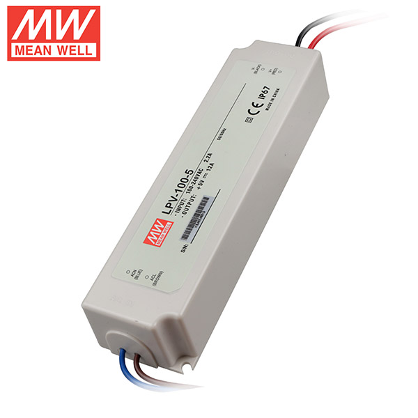 Mean Well LPV-100-5 DC5V 100Watt 20A UL Certification AC110-220 Volt Waterproof IP67 Power Supply For Programmable LED Strip Lights