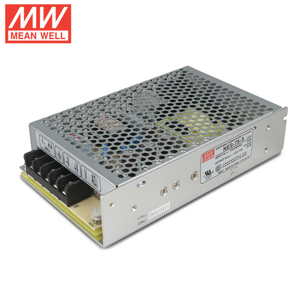 Mean Well NES-75-5 DC5V 75Watt 15A UL Certification AC110-240 Volt Switching Power Supply For LED Strip Lights Lighting