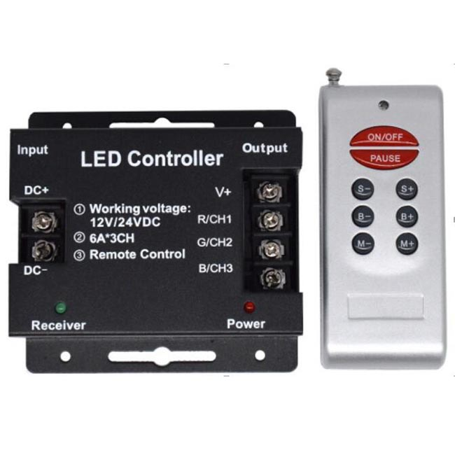 DC12-24V RGB Controler 8Key RF Remoto For LED Strip Curtain wall decoration lighting