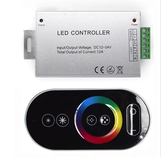 DC12-24V 18A RF Remote Touch RGB Led Controller,Touch Dimmer For led strip light in garageRGB DC12-24V 6key to touch the controller For led strip light dimmer