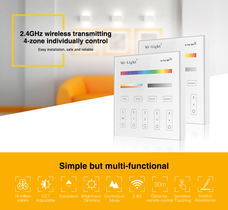 T4 4 zone rgbcct smart panel remote controller for rgbcct led product description aloadofball Gallery