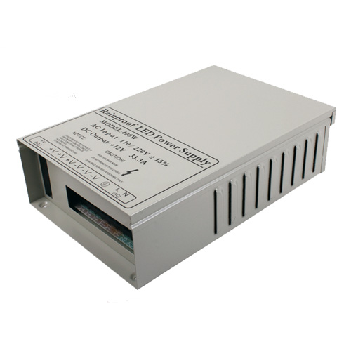 400W DC12/24V Rainproof Switching Enclosed LED Driver Transformer Power Supply Fan Cooling For LED Lighting