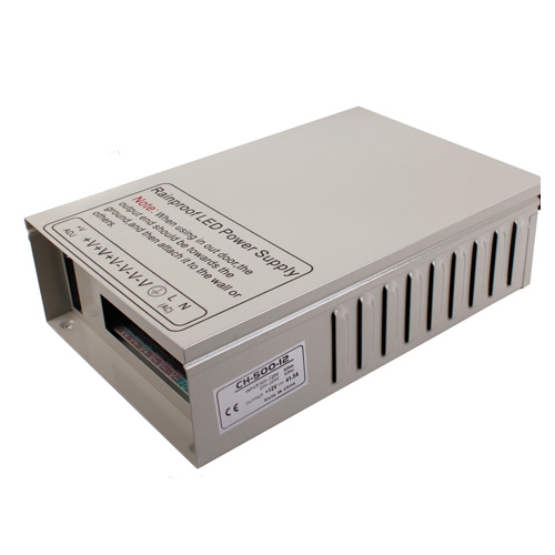 500W DC12/24V Rainproof Switching Enclosed LED Driver Transformer Power Supply Fan Cooling For LED Lighting