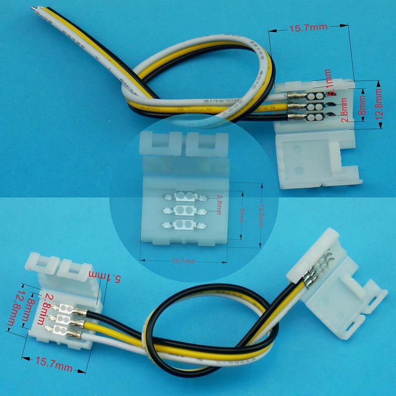 3pin fast connector for width 8mm color temperature led strip lights and dream color WS2811 ws2812b led tape lights