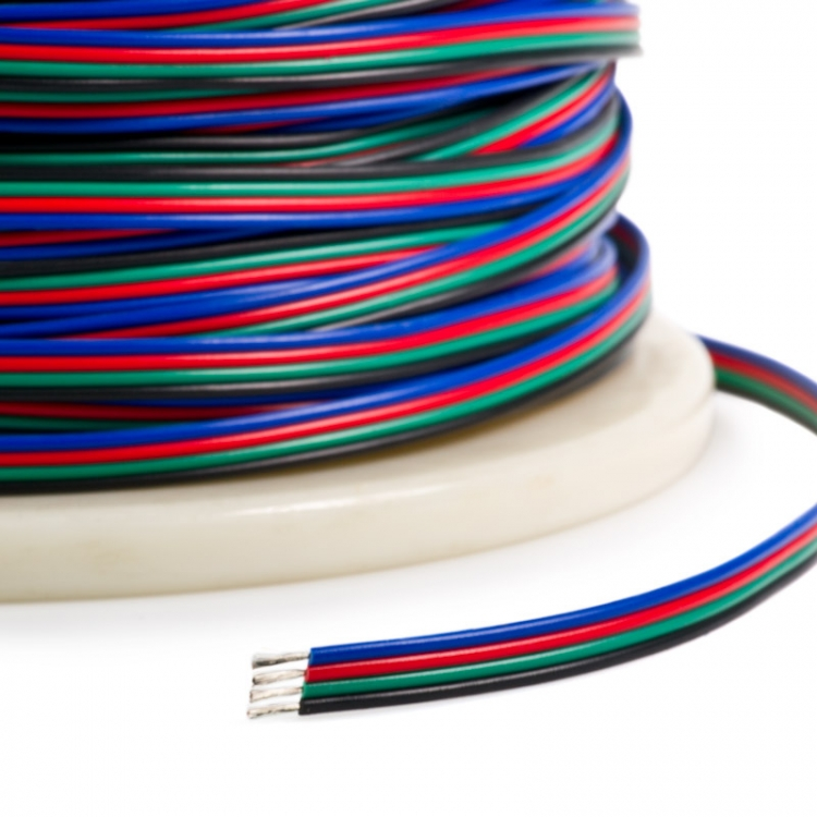 4pin RGB+ Power Wire Cable 0.5mm Copper Core For DC12/24V RGB Color change flexible LED Strip Lighting, 1meter by sale