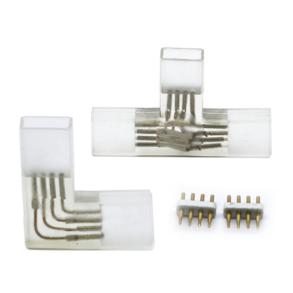 L shape Bends and T shape branches 4-PIN high voltage led strip lights Bifurcation fast connectors