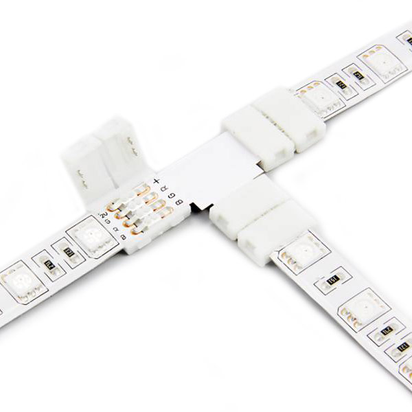 T Shape 4Pin RGB Color Change LED Strip Lights Fast Conector Accessories For width 10mm RGB led strip lights