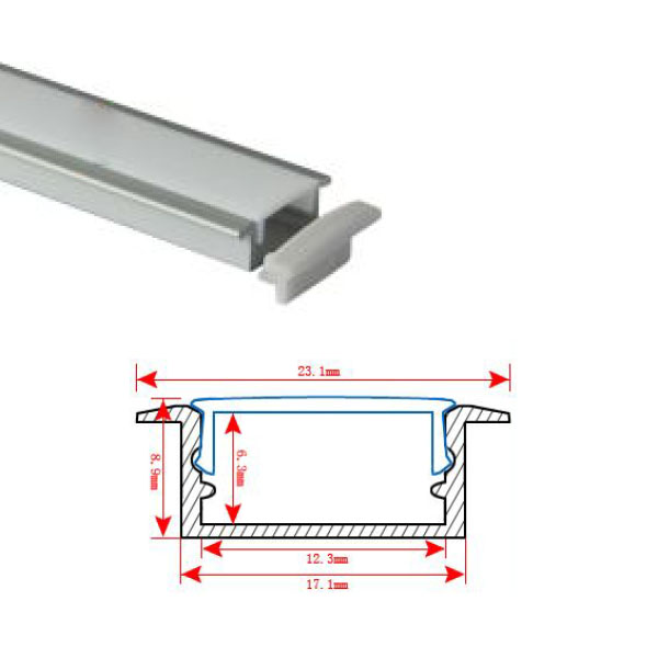 HL-BAPL001 Height 8.9mm Recessed Extruded Aluminum Channel Profile With flange Good heatsink For Width 12mm LED Flexible Strip Lights