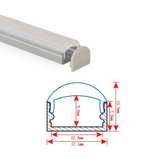HL-BAPL002L-Height 13.5mm Recessed Extruded Aluminum Channel Profile with Lens 60 degrees Good heatsink For Width 12mm LED Flexible Strip Lights