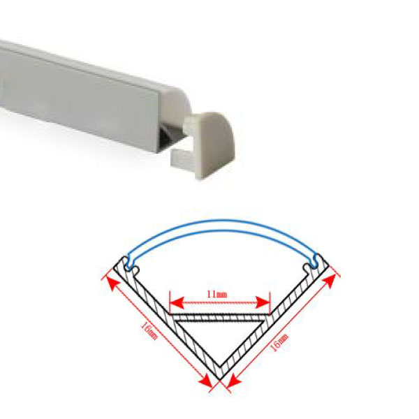 HL-BAPL006-Height 16mm Corner Recessed Extruded Aluminum Channel Profile Good heatsink For Width 10mm LED Flexible Strip Lights