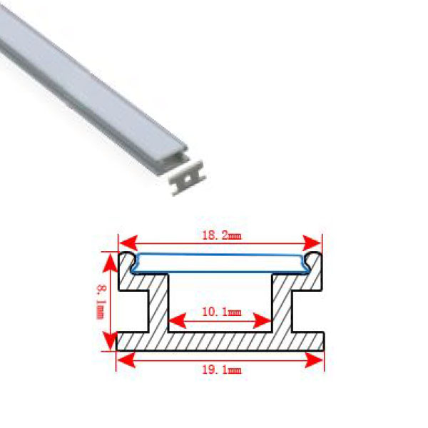 HL-BAPL009 Height 8.1mm Flat Recessed Extruded Aluminum Channel Profile Good heatsink For Width 10mm LED Flexible Strip Lights