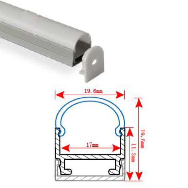HL-BAPL010 Height 19.6mm Round Recessed Extruded Aluminum Channel Profile Good heatsink For Width 17mm Ceiling LED Flexible Strip Lights