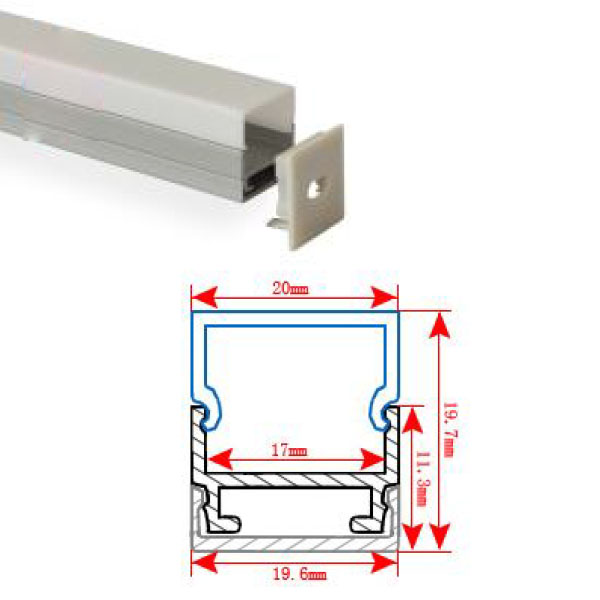 HL-BAPL011 Height 19.7mm Flat Recessed Extruded Aluminum Channel Profile Good heatsink For Width 17mm Ceiling LED Flexible Strip Lights
