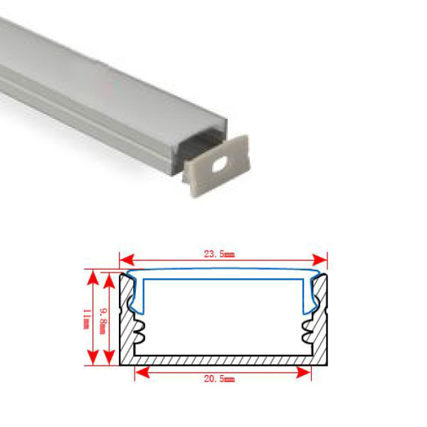 HL-BAPL014 Height 11mm Deep Recessed Extruded Aluminum Channel Profile Good heatsink For Width 20mm Without Flange Ceiling LED Flexible Strip Lights