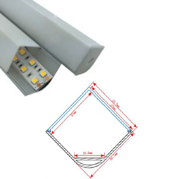 HL-BAPL015 Height 29.7mm Corner Recessed Extruded Aluminum Channel Profile Good heatsink For Width 20mm Ceiling LED Flexible Strip Lights