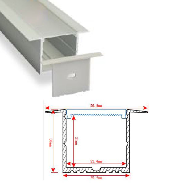 HL-BAPL017 Height 29.7mm High Power Recessed Extruded Aluminum Channel Profile Good heatsink For Width 30mm Ceiling and Wall LED Lights