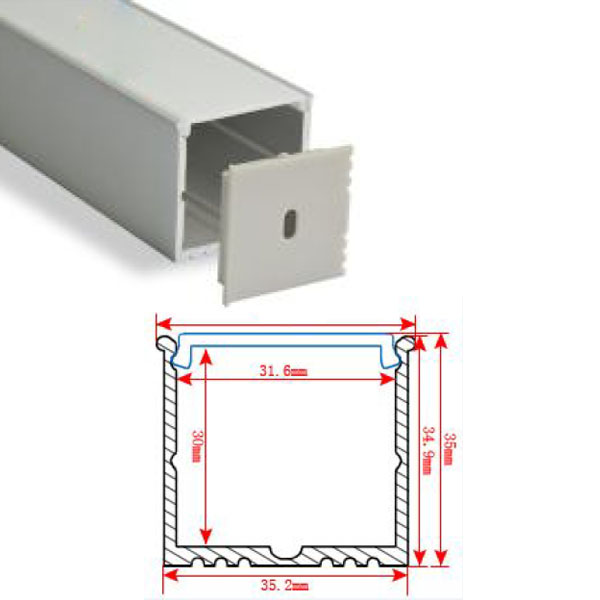 HL-BAPL018 Height 35mm High Power Recessed Extruded Aluminum Channel Profile Good heatsink For Width 30mm Ceiling and LED Pendent Lights