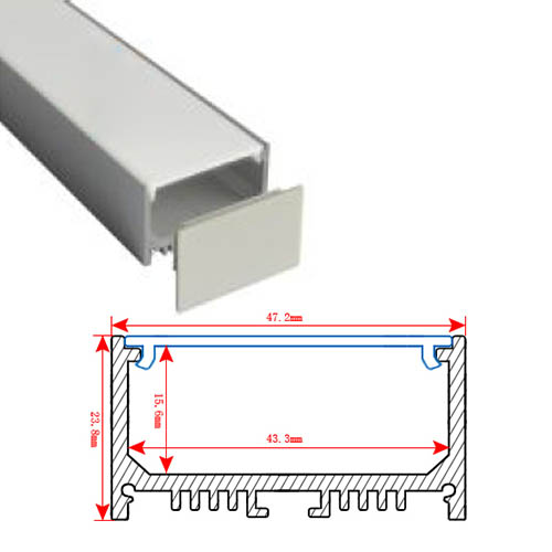 HL-BAPL028 Height 23.8mm High Power Recessed Extruded Aluminum Channel Profile Good heatsink For Width 40mm Ceiling or LED Pendent Lights