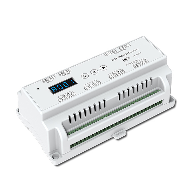 12 CH Constant Voltage DMX512 Decoder D12 For Single Color, Color Temperature, RGB, RGBW LED Strip Lights, Warranty 5 Years