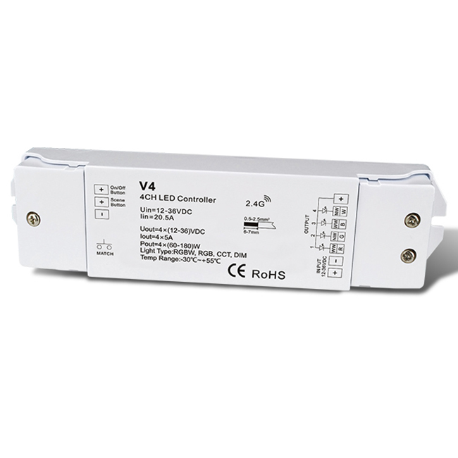 4CH 5A Constant Voltage RF 2.4G Receiver WiFi controlled V4 For single color, dual color and RGB/RGBW LED strip light installation