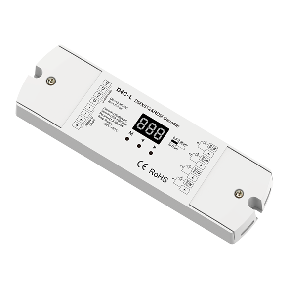 4CH Constant Current DMX512 & RDM Decoder D4C-L For RGB led strip lights