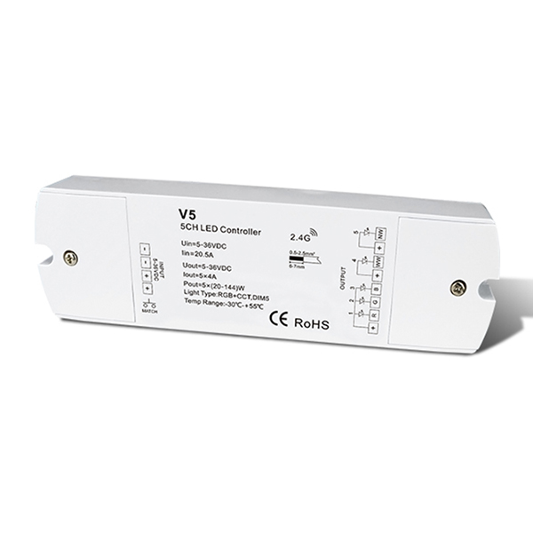 5CH 4A Constant Voltage RF 2.4GHz wireless controllerV5 For RGB+CCT LED led strip light holder