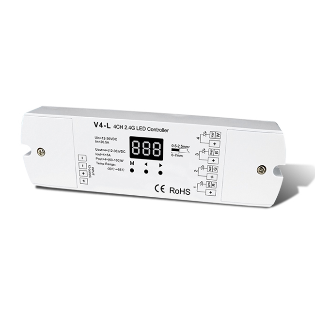 4CH 5A Constant Voltage RF 2.4G Receiver V4-L For RGBW,Single Color ,CCT LED Strip led light strip waterproof
