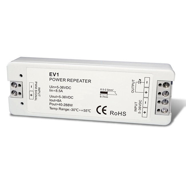 DC5-36V 1CH Constant Voltage Power Repeater EV1 For Single Color LED Strip