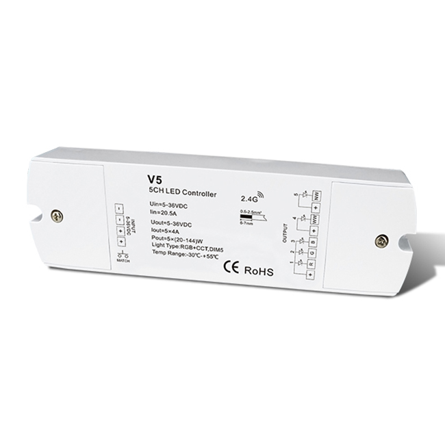 DC5-36V 5CH 4A Constant Voltage RF 2.4G wireless remoters V5 For led strip light