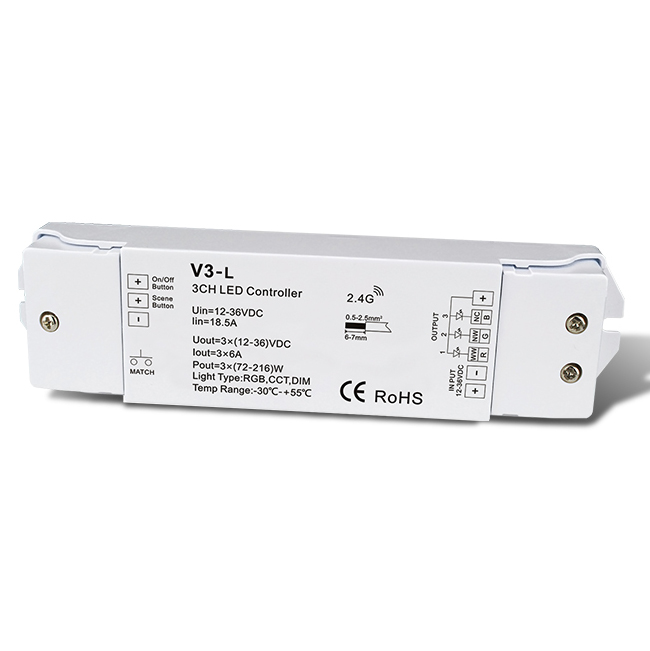 3CH 6A Constant Voltage RF 2.4G RGB controller CCT Receiver V3-L For make an led strip light