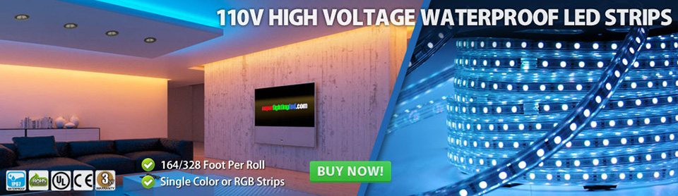 110V High Voltage Waterproof IP67 Flexible LED Strip Lights