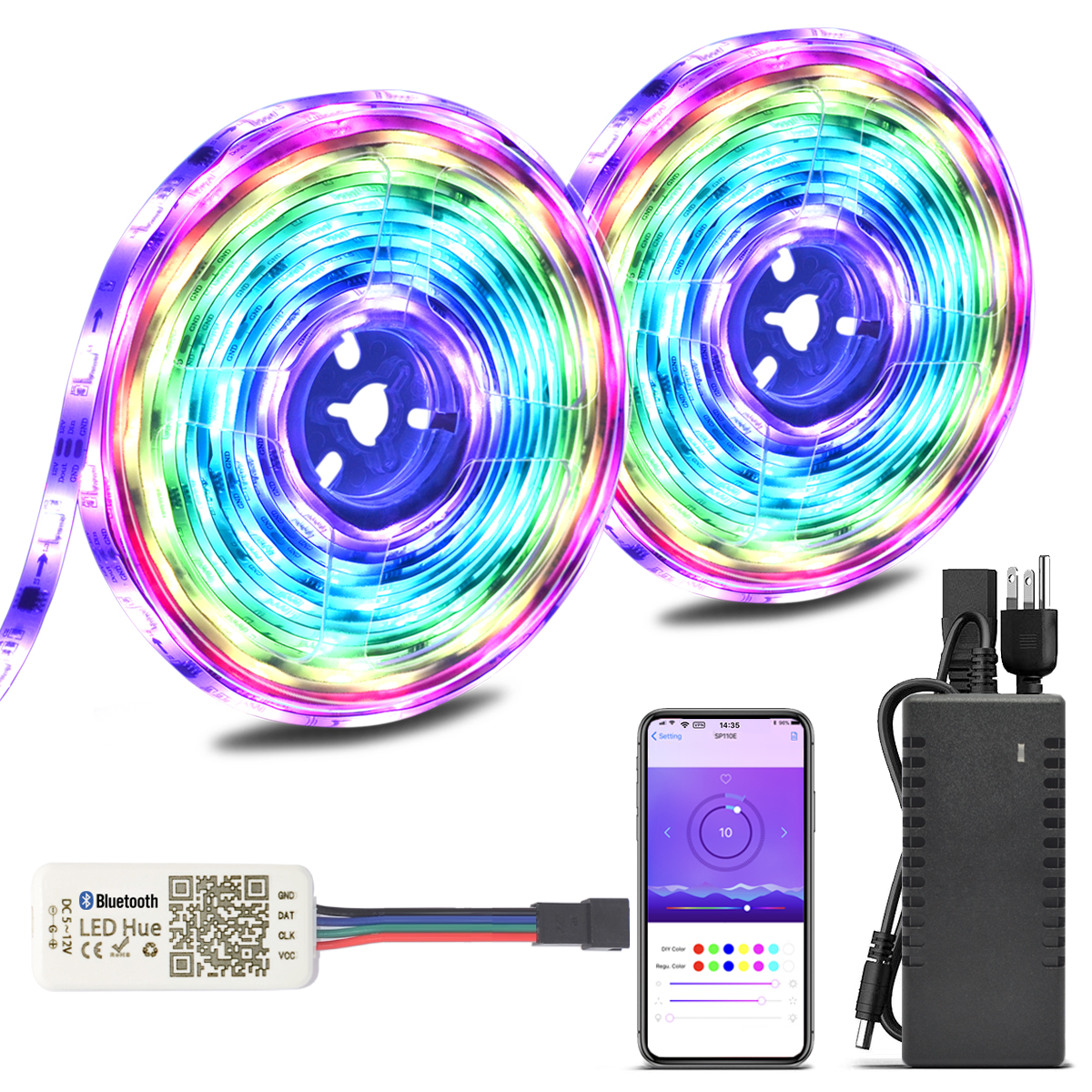 2018 New Upgraded 32.8ft/10M Waterproof Dream Color Chasing Addressable RGB Flexible LED Strip Light Kit, DC12V 300LEDs with Bluetooth SPI Controller, for Home, Party, Christmas, Car Decoration
