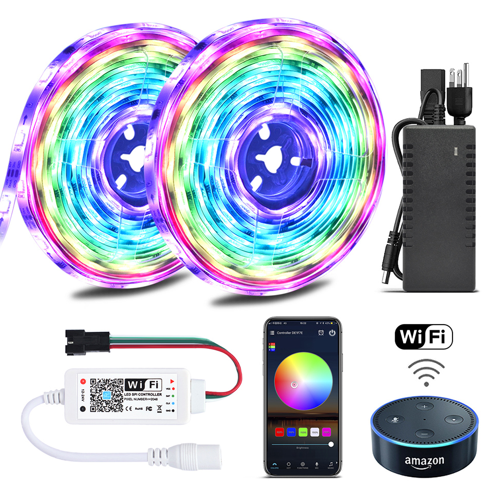 e5462e4627cf Color Chasing Alexa LED Strip Light Kit, 32.8Ft 10m Flexible Addressable RGB  LED Rope