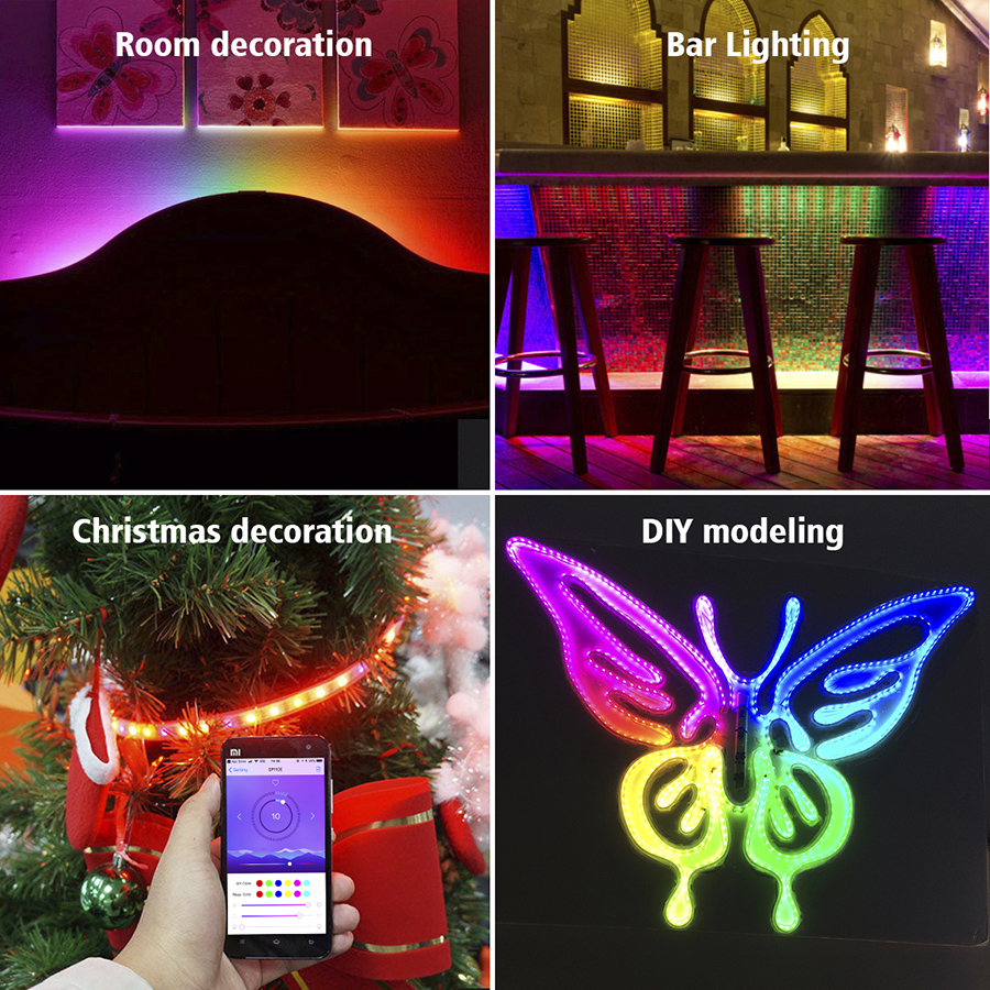 Color Chasing Alexa Led Strip Light Kit 32 8ft 10m Flexible Addressable Rgb Led Rope Lights Working With Wifi Spi Music Timer Controller Support Ios